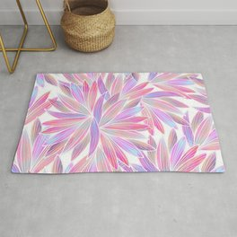 Trendy girly pink lavender coral watercolor floral Rug