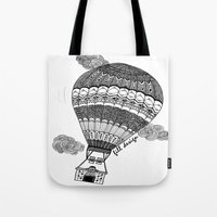 baloon Tote Bags featuring Hot Air Baloon by Fill Design by mervegokdere