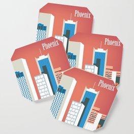 Phoenix, Arizona - Skyline Illustration by Loose Petals Coaster