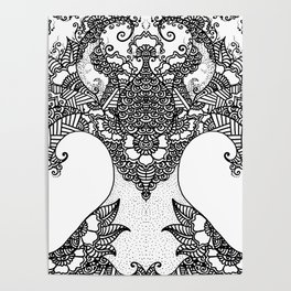 Unity of Halves - Life Tree - Rebirth - White Poster