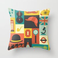 sherlock Throw Pillows featuring Sherlock by Ariel Wilson