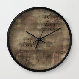 Sheet Music - Mixed Media Partiture #4 Wall Clock