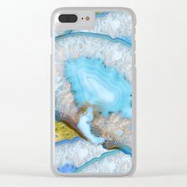 Crystals blue Clear iPhone Case