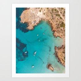 Aerial Ibiza Coast Art Print