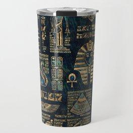 Egyptian hieroglyphs and deities -Abalone and gold Travel Mug