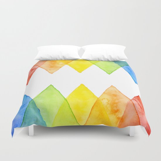 Geometric Watercolor Shapes Triangles Pattern Duvet Cover