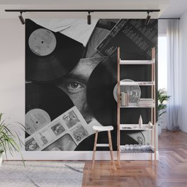 Long-playing Records and Covers in Black and White - Good Memories #decor #society6 #buyart Wall Mural