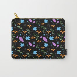 Floral Pattern Black Background Carry-All Pouch
