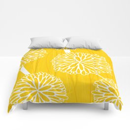 Pom Poms in Yellow by Friztin Comforters
