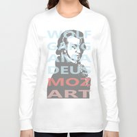 mozart Long Sleeve T-shirts featuring Wolfgang Amadeus Mozart by César Padilla