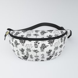 Potted Plant Pattern in Black and White Fanny Pack