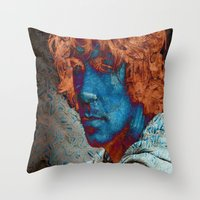 caleb troy Throw Pillows featuring Troy by Robin Curtiss