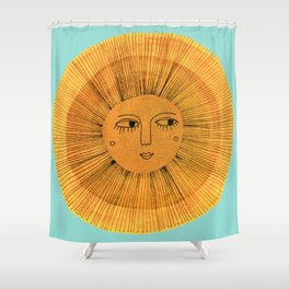 Sun Drawing - Gold and Blue Shower Curtain