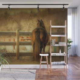 Horse Along a Fence in Snow in Winter. Golden Age Painting Style. Wall Mural