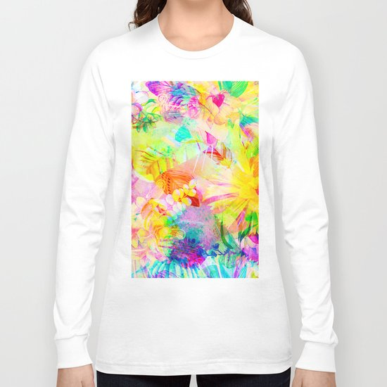 flowers pink yellow Long Sleeve T-shirt