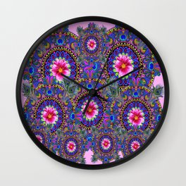 PINK & BLUE #2 PEACOCK MANDALAS WITH  FUCHSIA FLOWER ART Wall Clock