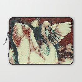 WHITE SWAN BROWNS & GREY  MODERN ART DESIGN Laptop Sleeve