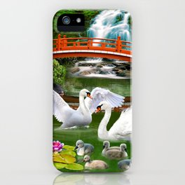 Swans and Baby Cygnets in an Oriental Landscape iPhone Case