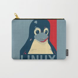 Linux tux Penguin poster head red blue  Carry-All Pouch