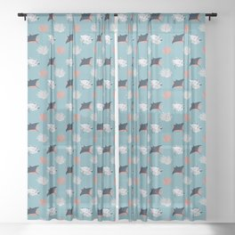 Dance of the Manta Ray (blue) Sheer Curtain