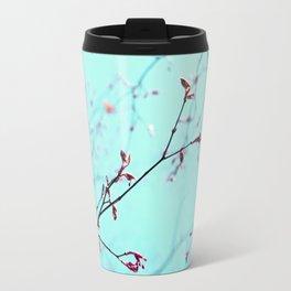 Pink Spring Flowers on Aqua Blue Green Sky Travel Mug