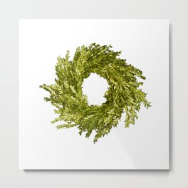 Box wood wreath round circle holiday celebrate Metal Print
