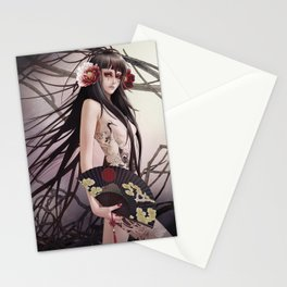 aGirl w/fan&craneTattoo Stationery Cards