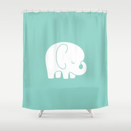 Mod Baby Elephant Teal Shower Curtain