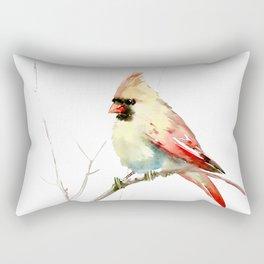 Northern Cardinal (female Cardinal bird) Rectangular Pillow