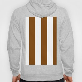 Wide Vertical Stripes - White and Chocolate Brown Hoody