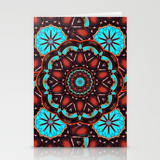 Abstract - Wood & Turquoise Pattern Stationery Cards