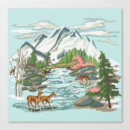 Paint by Number Mountain Medow Canvas Print
