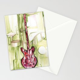 red on green gutair Stationery Cards