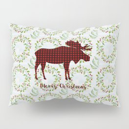 Winter Wreath Merry Christmas Red Buffalo Plaid Reindeer Pillow Sham