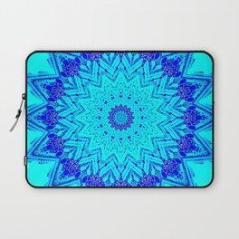 Bright blue turquoise Mandala Design Laptop Sleeve