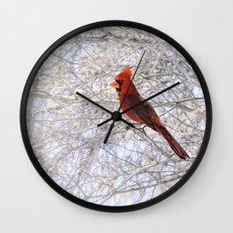 Red Cardinal Along the Salt River Wall Clock