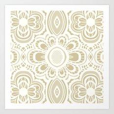 Lace Floral Ivory Sand (Neutral) Art Print