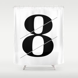 """""""Sliced Collection"""" - Minimal Number Eight Print Shower Curtain"""