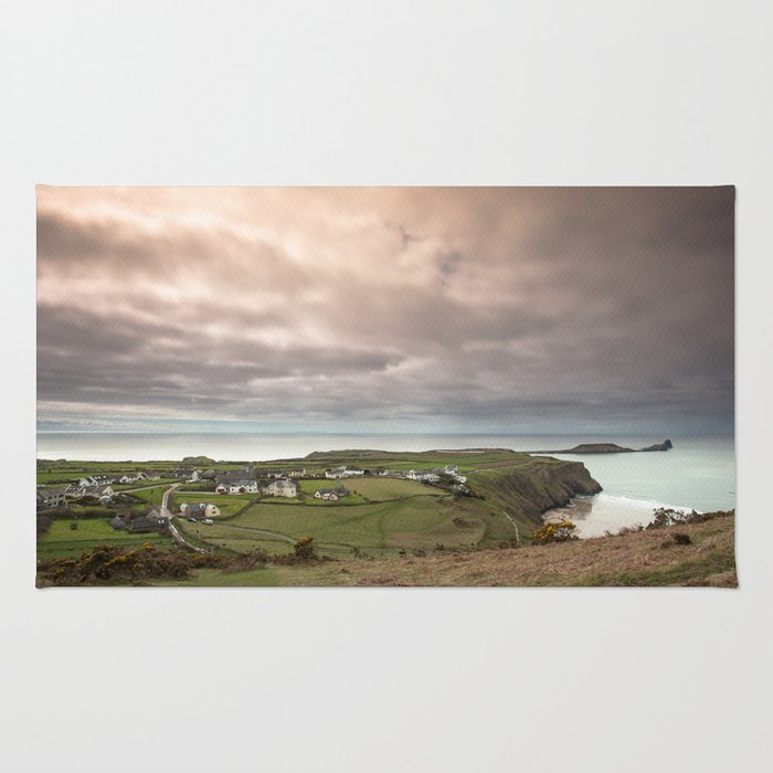 rhossili village and worms head Rug