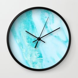 Shimmery Teal Ocean Blue Turquoise Marble Metallic Wall Clock