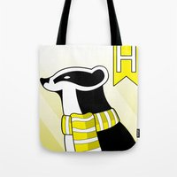 hufflepuff Tote Bags featuring Hufflepuff Badger by makoshark