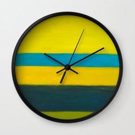 yellow blue Wall Clock