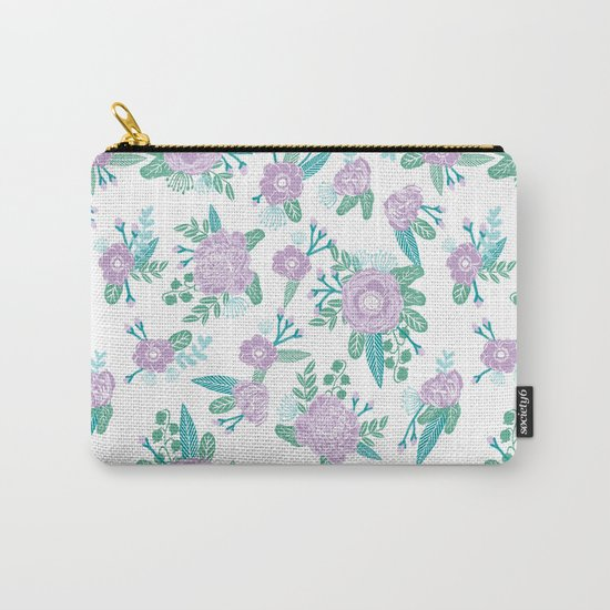Floral bouquet pastel mint lilac florals painted painted pattern basic minimal pattern print Carry-All Pouch