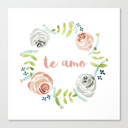 'I Love You' in Spanish - Floral Wreath Canvas Print