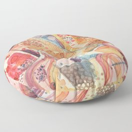 Serendipity's Dream Abstract Female Figure Watercolor Floor Pillow