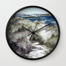 Cold seashore grass Wall Clock