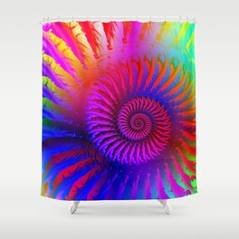 Rainbow Psychedelic Hippie Fractal Art Shower Curtain