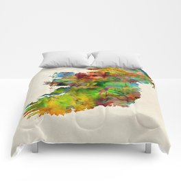 Ireland Eire Watercolor Map Comforters
