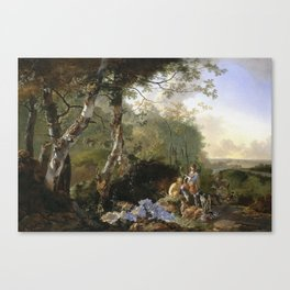 Adam Pynacker - Landscape With Sportsmen And Game Canvas Print
