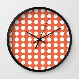 Dot Grid Minimalist Pattern in White and Burnt Orange Wall Clock